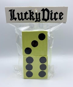 Pair of Lucky Dice (Pale Yellow) - Stacy Kiehl - Bodega Series - Acrylic, Wood