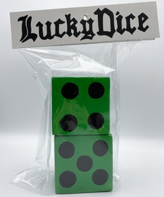 Pair of Lucky Dice (Green) - Stacy Kiehl - Bodega Series - Acrylic, Wood