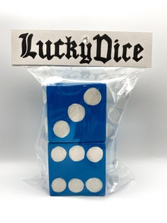 Pair of Lucky Dice (Light Blue) - Stacy Kiehl - Bodega Series - Acrylic, Wood