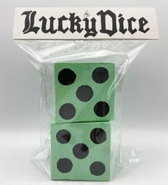 Pair of Lucky Dice (Mint Green) - Bodega Series - Acrylic, Wood, Ink on Paper