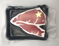 Packaged Meat No. 9  - Bodega Series, Steak painted on Wood, Acrylic, Plastic