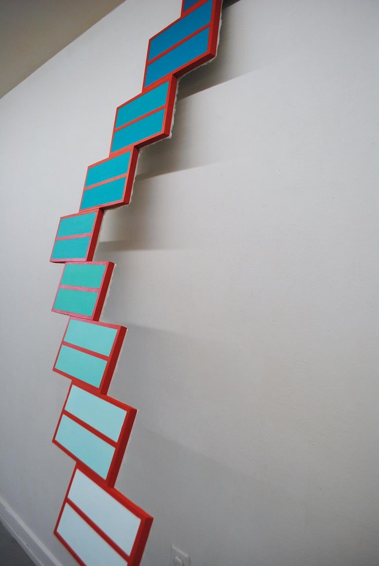 Duplo - Acrylic and Faux Fur on Wood - Large Geometric Mixed Media Sculpture - Brown Abstract Sculpture by Kayla Rumpp