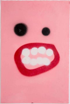 Light Pink Hooray Face - Frances Berry - Contemporary - Drawing - Street Art
