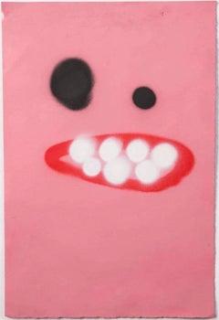Dark Pink Hooray Face - Frances Berry - Contemporary - Drawing - Street Art