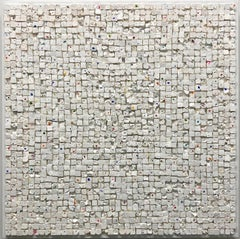 White Square Quilt 5- White, Geometric Textured Abstract Contemporary Painting