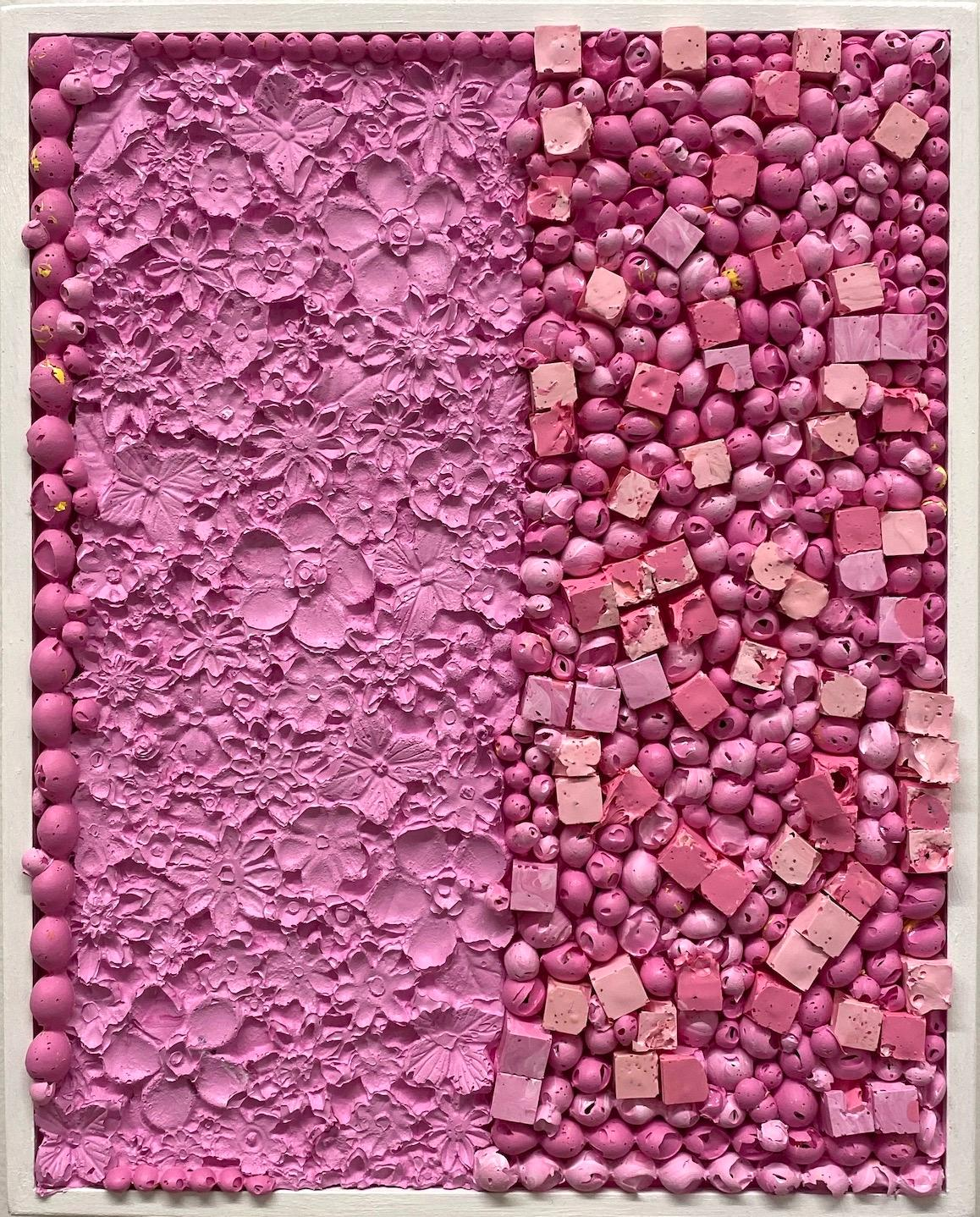 Pink Tapestry - Pink, Textured Contemporary Painting on Panel, Floral