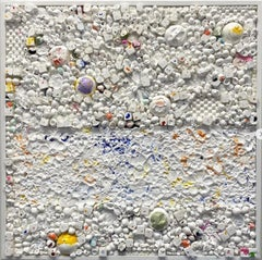White Tapestry with Color - Textured Contemporary Painting, Acrylic Molds