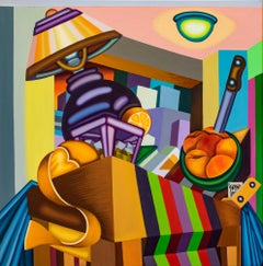Table Scene From the Plaza I- Bold, Surrealist, Cubist, Painting, Still Life