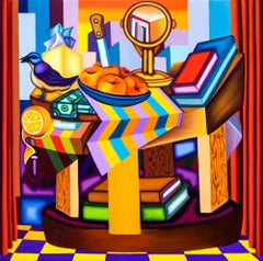 Table Scene From the Plaza II- Bold, Surrealist, Cubist, Painting, Still Life