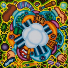 Syntax Rumble - Yellow, Green Cubist Nebula Oil Painting, Surreal Illustration