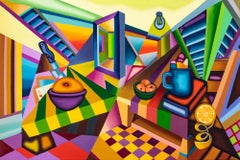 Dawning - Cubist, Bright & Bold Surreal Still Life with Table, Fruit, Tile