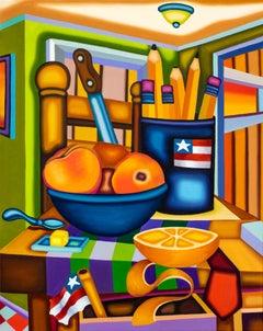 Peaches, Pencils, Dagger, Lump - Cubist, Bright & Bold Surreal Still Life