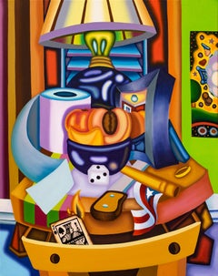 Peachy Keen Flaming Jack Still Life - Cubist, Bright & Bold Surreal Night Stand