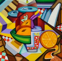Olè Setting - Cubist, Bright & Bold Surreal Table with Fruit and Soda, Oranges