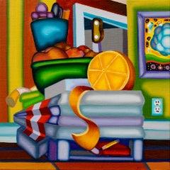 Catafalque Still Life - Cubist, Bright & Bold Orange, Peaches and Cigarette