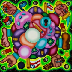 Cash and Carry Big Boom Economy - Bold, Surrealist Cloud Oil Painting, Green