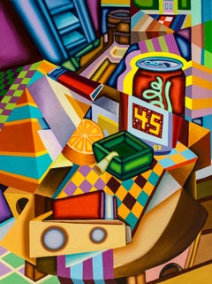 45 Olè Collapse- Cubist, Surreal Still Life with Bold Colors, beer can, orange