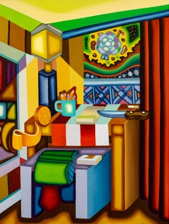 Night Table of The Assassin - Cubist, Surreal Still Life with Bold Colors, Knife