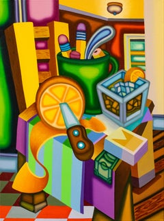 Highball Letter Vice - Cubist, Surreal Still Life with Bold Colors, Orange