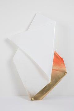 Vuelve A Amanecer - Bent Plexiglass Wall Hanging Sculpture, White, Gold, Orange