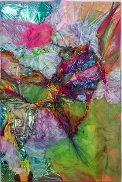 Kaleidoscopic Stitch - Abstract Textural Fabric Painting, Rainbow, yarn stitch