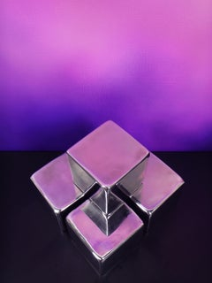 Formless - Steel Sculpture, Cube, Reflective