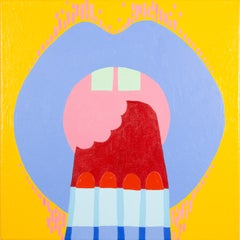 Rocket - Yellow, Red, White and Blue Pop art Popsicle Painting, Lips
