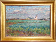 """Oats Usolye village 1989"" Russian art Oil Painting. Landscape."