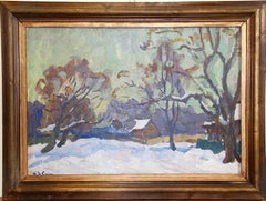 Ivan Sorokin. 1970 Winter landscape. Russian art Oil Painting.