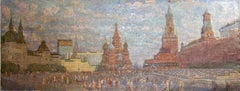 "Moscow. ""On the red square"". Kremlin, St. Basil's Cathedral. Russian soviet art."