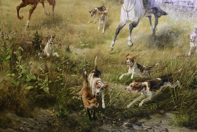 Large, impressive oil painting. Hunting scene. 19th century by Professor Hans Werner Schmidt, Weimar.  A very lively and qualitatively high quality oil painting. Signed and dated