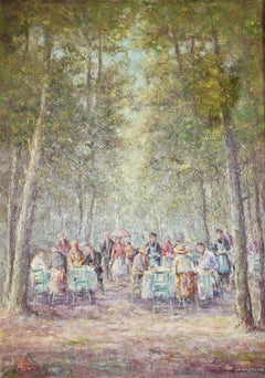 "Decorative, romantic oil painting by Heinrich Hartung ""Dinner in the Park""."