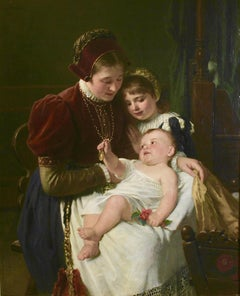 Otto Rethel, Antique Oil Painting, Mother with Children, 19th Century.