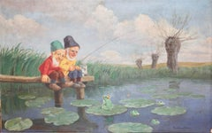 """Painting, around 1900, oil on canvas, """"Dwarves fishing"""" by Paul Lothar Müller."""