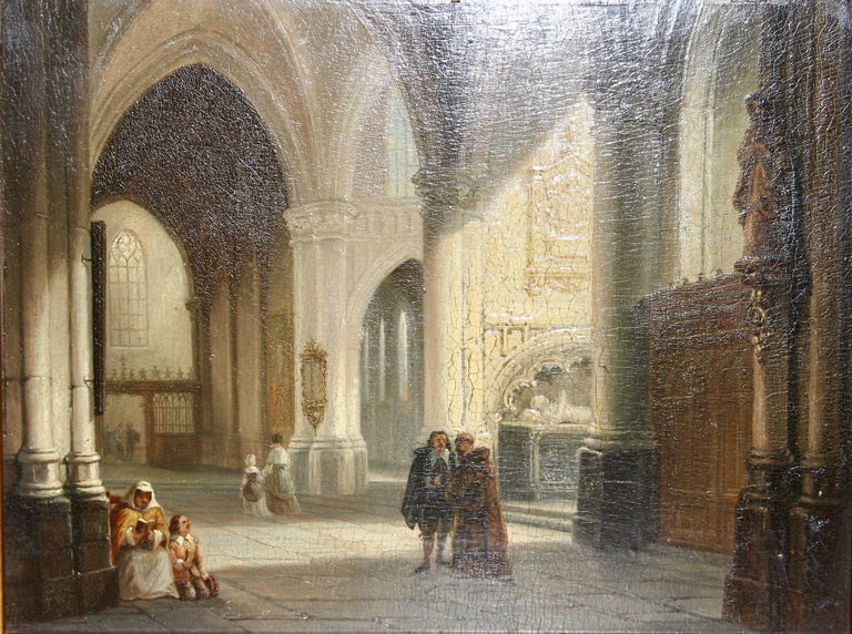 "Painting, 19th century, oil on wood, ""Brussels Cathedral / Church"" by Jan Baptist Tetar Van Elven.  Very fine painting.  Dimensions with frame 35,3cm x 28,5cm.  Age-related condition."
