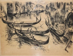 "Painting, 20th century, charcoal drawing ""Venice - Gondolier"" by Paul Kuhfuss"