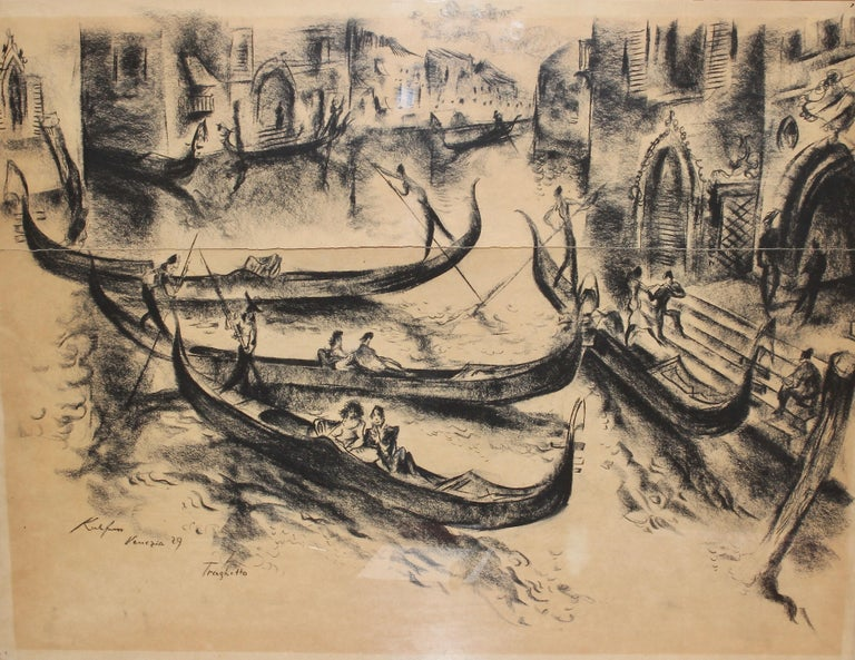 "Painting, 20th century, charcoal drawing ""Venice - Gondolier"" by Paul Kuhfuss  Original drawing. Signed and dated. Title ""Traghetto"". Framed, behind glass. Drawing unfortunately torn.  Dimensions with frame 65.5cm x 51cm.  Age-related"