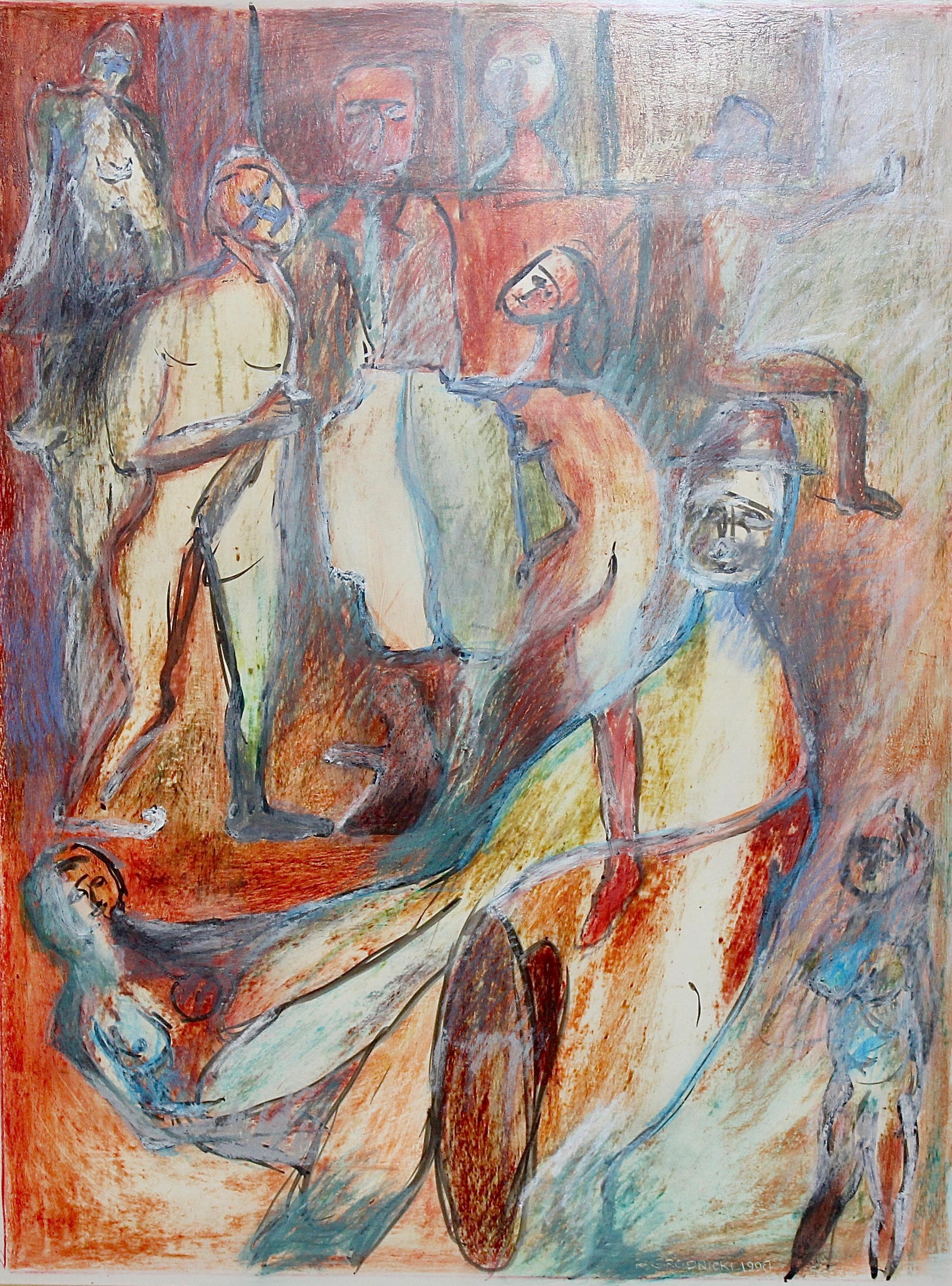 RYSZARD GRODNICKI, original Abstract painting, acrylic colors.