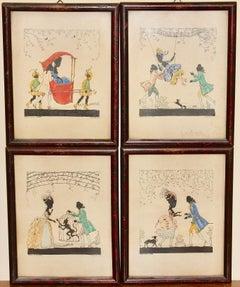 Quartet of pretty, antique original Color Drawings. Four Romantic Rococo Scenes.