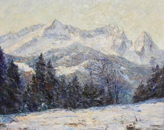 Antique Painting, Oil on canvas, Winter Morning in the Alps Mountains, Zugspitze