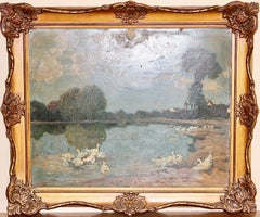 Antique Oil Painting, 19th Century, Seascape with Ducks. Paul Harnisch.