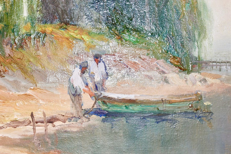 Painting, oil on canvas, seascape. Fisherman on Lake Garda, Italy.  Very good condition.  Dimensions with frame 67cm x 92cm Without frame: 50cm x 75cm