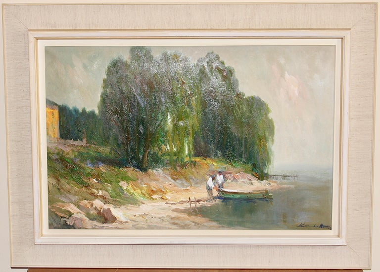 Painting, oil on canvas, Seascape. Fisherman at Lake Garda, Italy. - Gray Landscape Painting by Karel Hodr