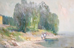 Painting, oil on canvas, Seascape. Fisherman at Lake Garda, Italy.