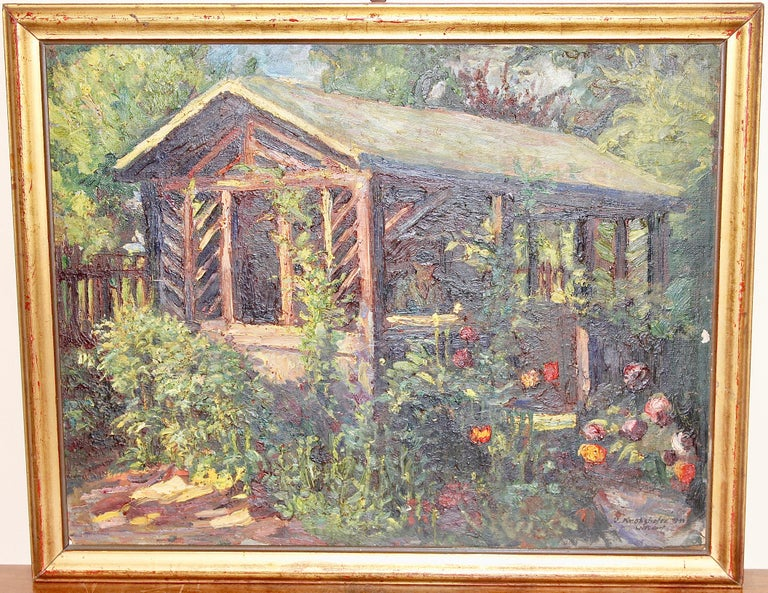 Antique Oil Painting, Summer Garden with Flowers. - Gray Landscape Painting by OSWALD VON KROBSHOFER