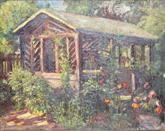 Antique Oil Painting, Summer Garden with Flowers.