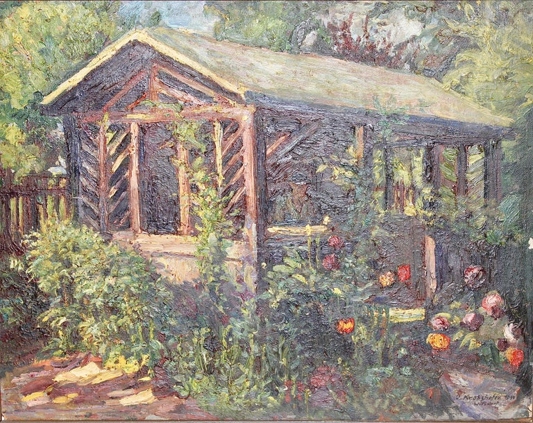 OSWALD VON KROBSHOFER Landscape Painting - Antique Oil Painting, Summer Garden with Flowers.