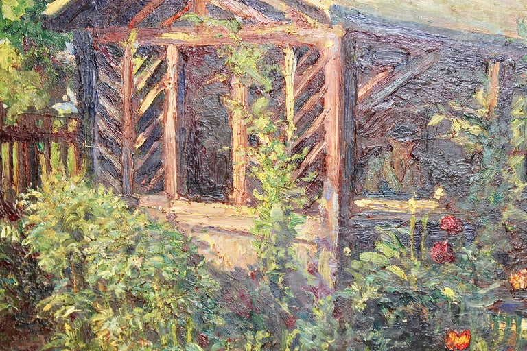 Antique oil painting, summer garden with flowers  Age-related condition.  Dimensions without frame.  Oswald von Krobshofer was from 14 November 1903 pupil at the Academy of Fine Arts in Munich under Carl von Marr, Peter Halm and Julius Exter. He