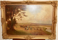 Antique painting, 19th century, oil on canvas, harvest by the river.