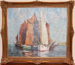 Decorative, antique Painting, oil on canvas. Sailboats at the Lake.